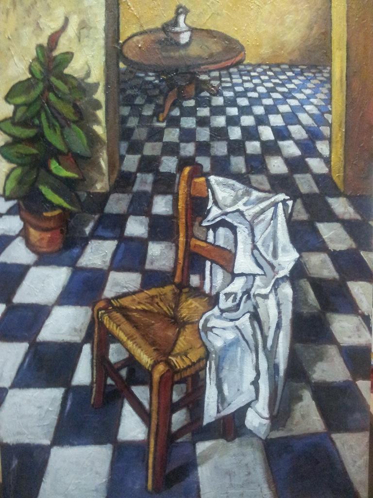 interno con sedia (2013) - olio su tela 70x100